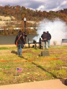Marshal Steen and Volunteers fire a reproduction cannon produced by Steen Cannonworks during the 2013 Veterans Appreciation weekend.