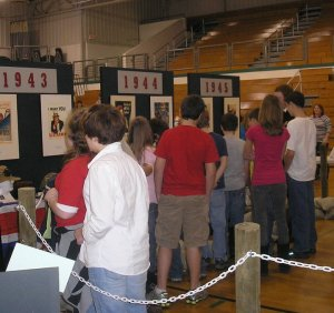 """Our """"Windows to the Past: WWII"""" Traveling exhibit on display at Wurtland Middle School."""